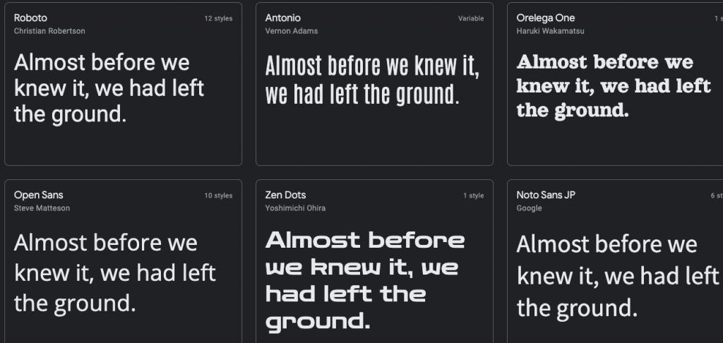 popular free google fonts in wordpress editor