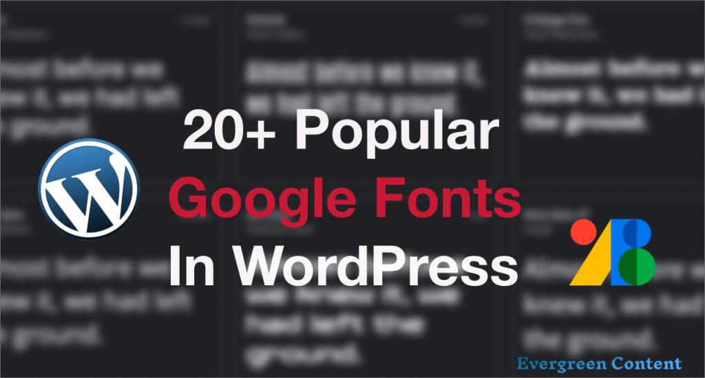 free google fonts- free web fonts in WordPress editor