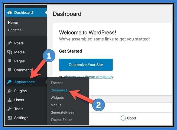 7 WordPress Dashboard Appearance Customize 1