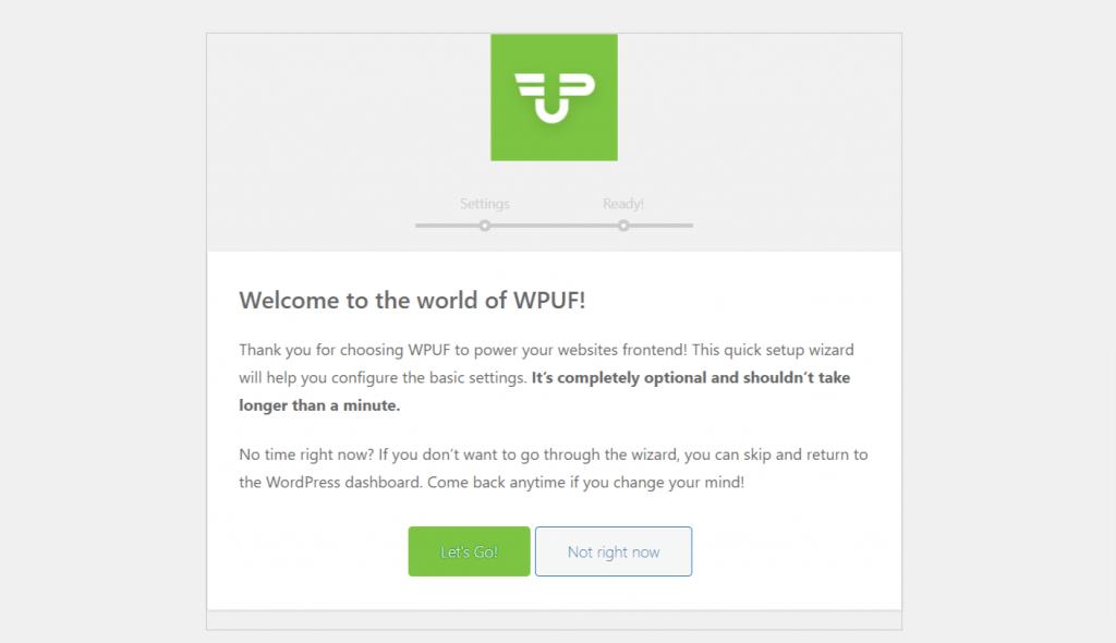 wordpress user frontend setting wizard