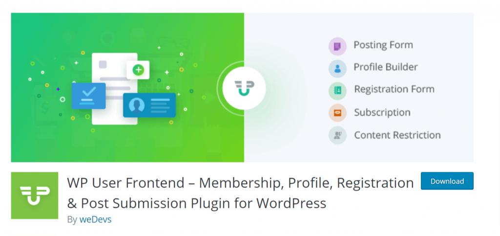 wordpress user frontend wpuf